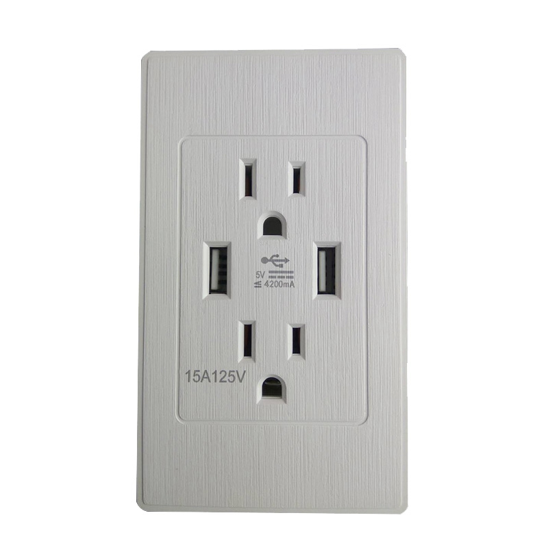 American Dual Usb Wall Socket American Standard Power Outlet Us 3.1A Usb Socket Panel Us Plug