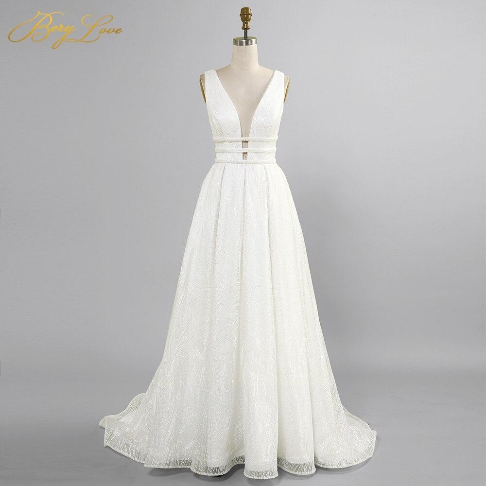 Blanc paillettes robe de mariée 2020 une ligne Sexy V longue robe de mariée taille creuse dos ouvert robe de mariée brillant pli vestido de