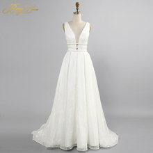 White Glitter Wedding Dress 2020 A line Sexy V Long Bridal Dress Hollow Waist  Open Back Bride Gown Shiny Pleat vestido de flamingo print v back drop waist dress