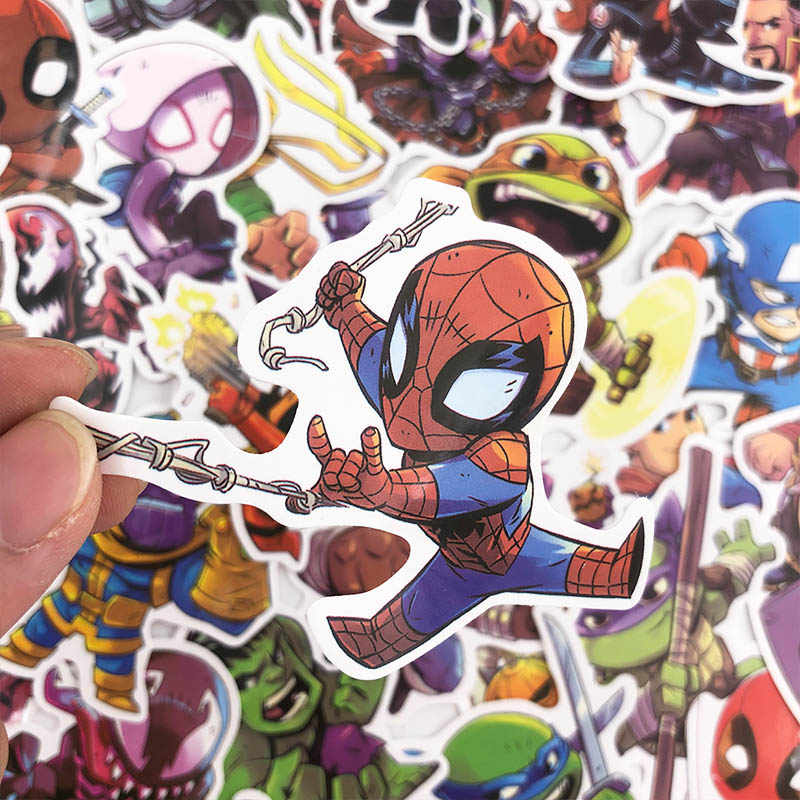 50 Pcs Marvel Anime Lucu Tahan Air Stiker untuk Graffiti Sticker untuk Skateboard Tas Laptop Notebook Gitar Stiker Mobil