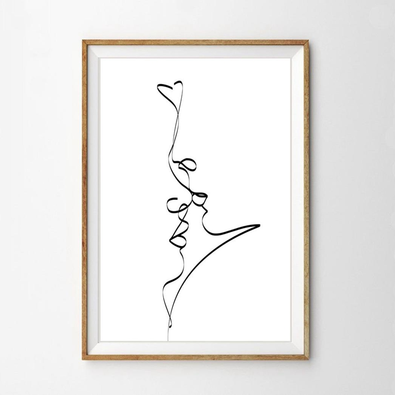 Single Line Love Canvas Print
