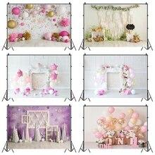 Laeacco عيد ميلاد خلفيات الأبيض شيك جدار بالونات الزهور ندفة الثلج الطفل صورة خلفيات للتصوير الفوتوغرافي استوديو الصور الدعائم