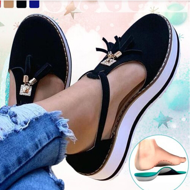 Tassel Round Toe Flat Sandals Thick Bottom Buckle Strap Casual Beach Single Shoes Woman Non-slip Flats Woman Sandal Chaussures 20