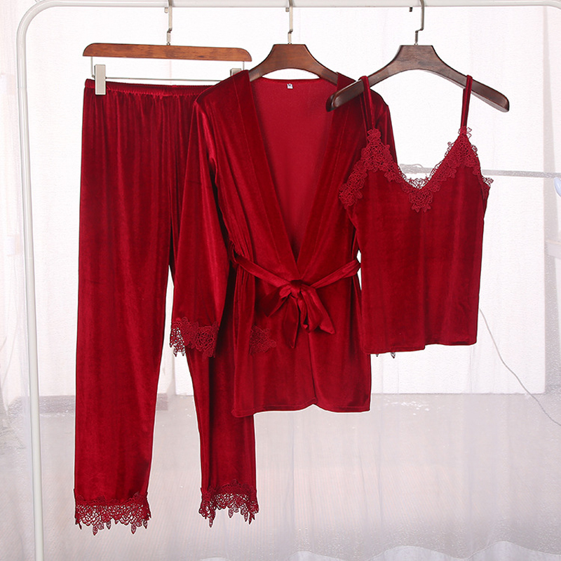 Autumn winter Korea edition new style golden velvet pajamas set three pieces of lady lace light luxury elegant homewear