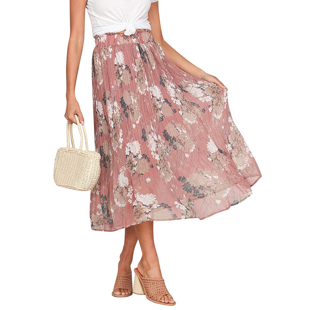 Ladies Pleated Skirt Womens Floral Flowers Print Split Skirt Spring Autumn Beach Mid-Calf Skirt Female Clothing