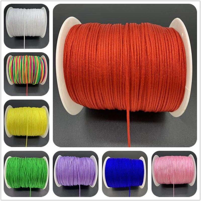 Macrame Cord Tassels-Beading Bracelet Shamballa-Rope String Diy Braided Nylon Chinese Knot
