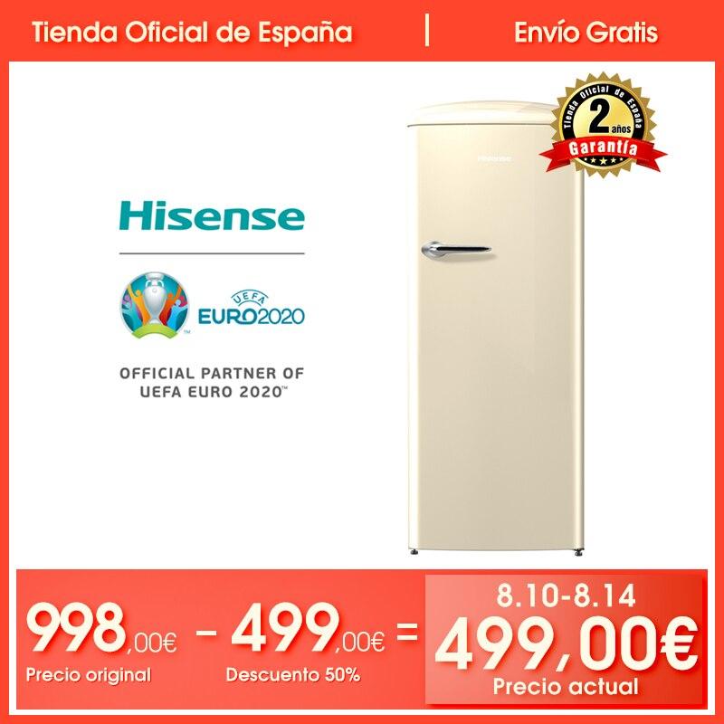 Hisense RR330D4AY2 réfrigérateur, réfrigérateur, 254 litre, faible bruit, Design vintage, couleur crème, pas classe givre à + +