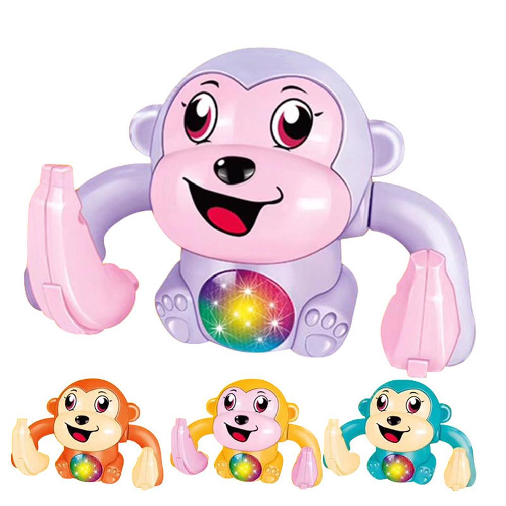 Cute Rolling Monkey Electric Sound Control With Music LED Interactive Kids Educational Toys For Children Gift