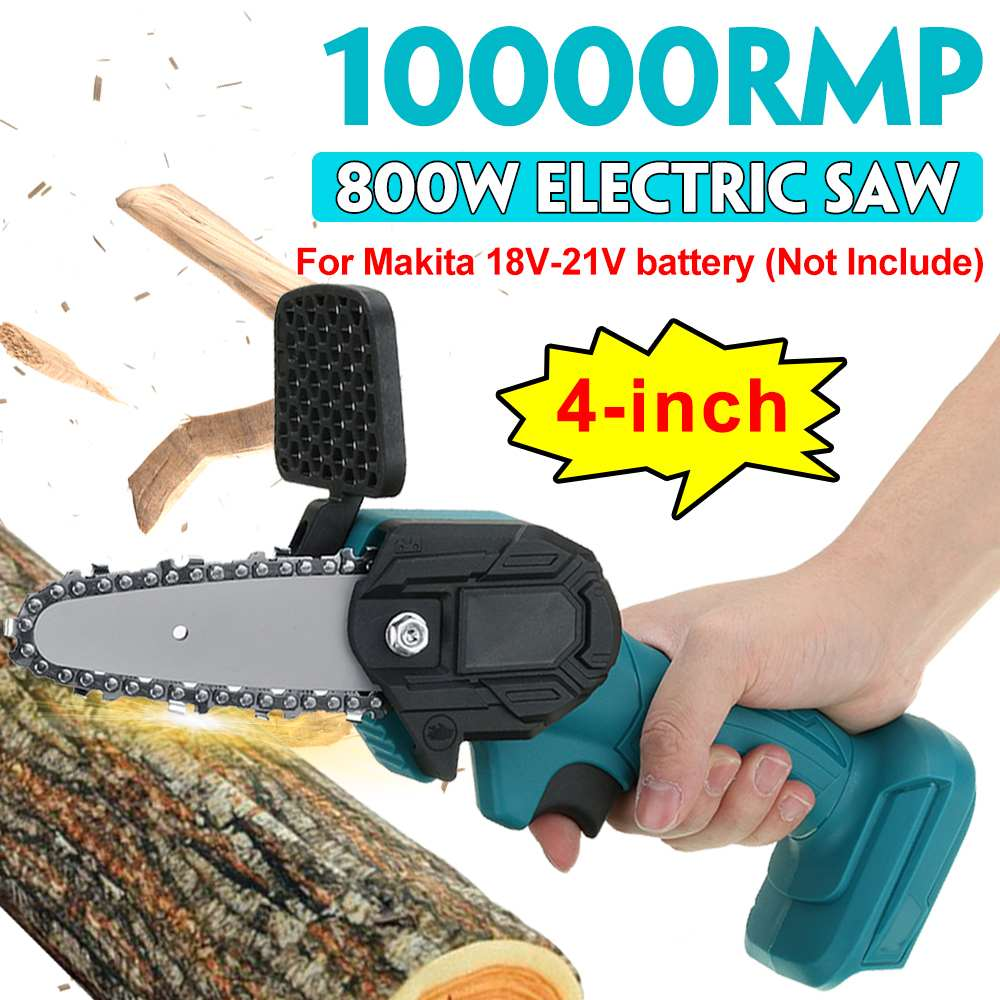 800W 4 Inch Mini Electric Chain Saw Electric Saw Pruning One-handed Garden Power Tool for Makita 18V Battery Woodworking Tools