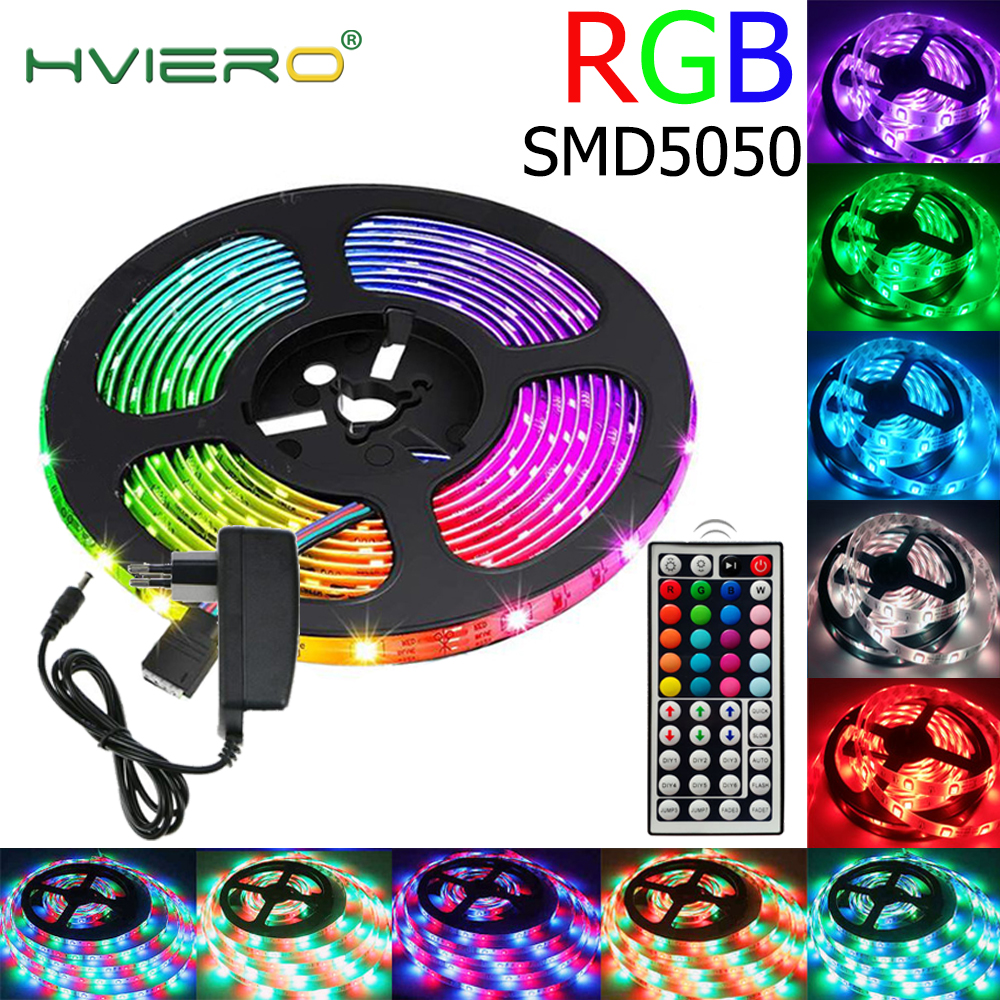 5050 5m RGB LED Strip Light SMD2835 5050 5M 10M Waterproof RGB Tape DC12V Ribbon Diode Led Strips Lamp With IR Remote Controller