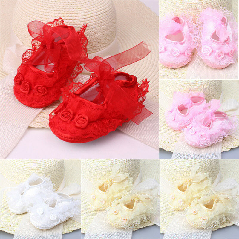 Infant Newborn Baby Girl Princess Non-Slip Lace Flower Shoes Baby Shoes