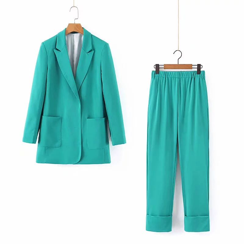 Women Suits Pants Suit Fashion Long Sleeve Blazer Casual Office Suit Female Jacket Curling Slim Pants 2019 Autumn Two-Piece Set