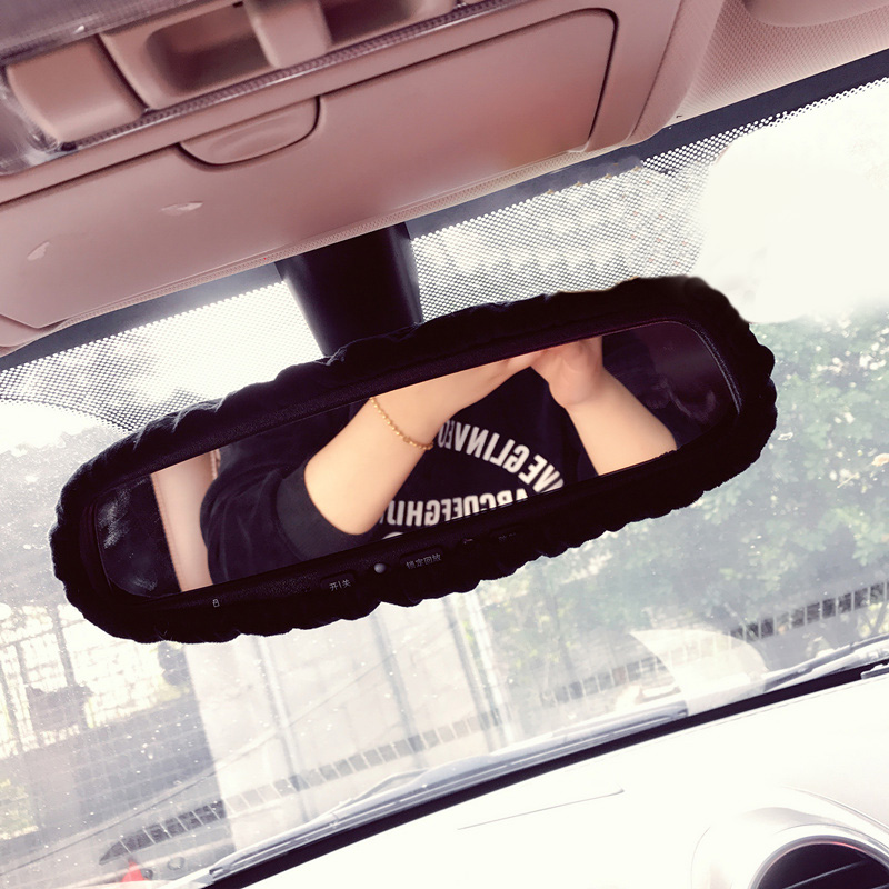 Cartoon Car Interior Rearview Mirror Cover Plush Auto Rear View Mirror Cover Decoration Accessories For Women And Girls