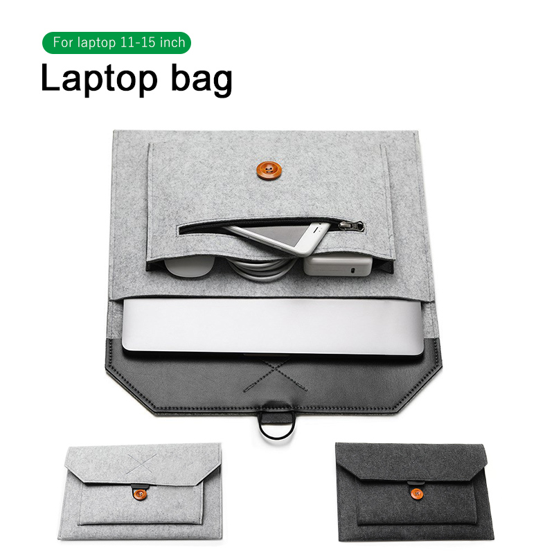 Fashion Wool Felt Laptop Sleeve Bag Notebook Handbag Case For Macbook Air Pro Retina 11 12 13 15 Lenovo Asus HP Laptop Liner Bag(China)