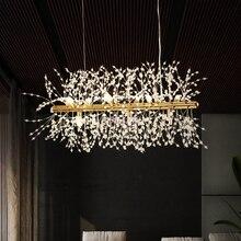 מודרני נברשת תאורה ליניארי Cristal נברשות מנורת LED תליון תליית אור Lustres דה Cristal מנורת מסעדת אור