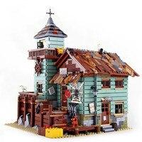 16050 idéias criador série da cidade à beira-mar antigo loja de pesca blocos de construção tijolos brinquedos compatíveis com lepining 21310 filme
