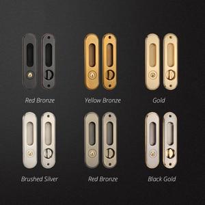 Image 3 - KAK Sliding Door Lock with Keys Hidden Door Handle Interior Door Pulls Lock Anti theft Room Wood Door Lock Furniture Hardware