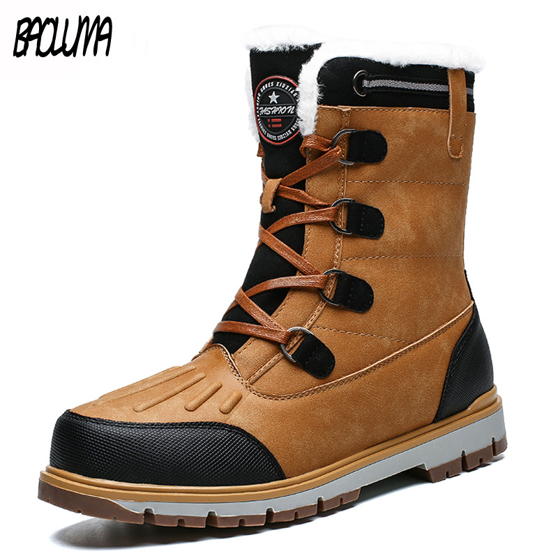 Brand Winter Men's Boots Thick Plush Warm Man Snow Boots Lace-UP Men Ankle Boots Outdoor Waterproof Male Motorcycle Shoes 38-46