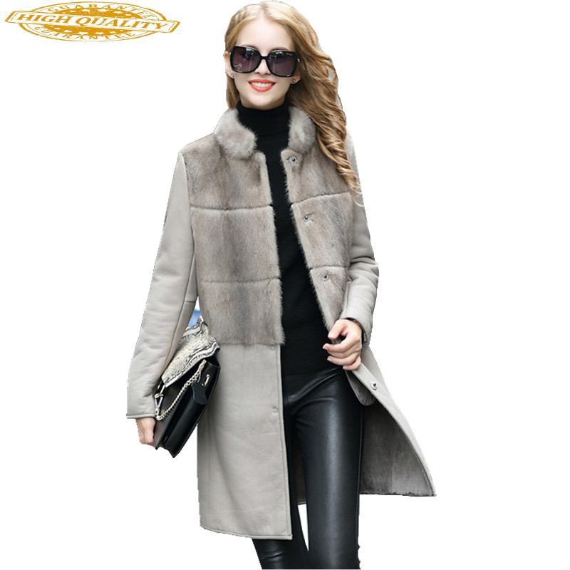 2020 New Fashion Natural Mink Fur Coat Real Sheepskin Long Slim Sheep Fur One Coats Warm Winter Jacket Women SW3333-1
