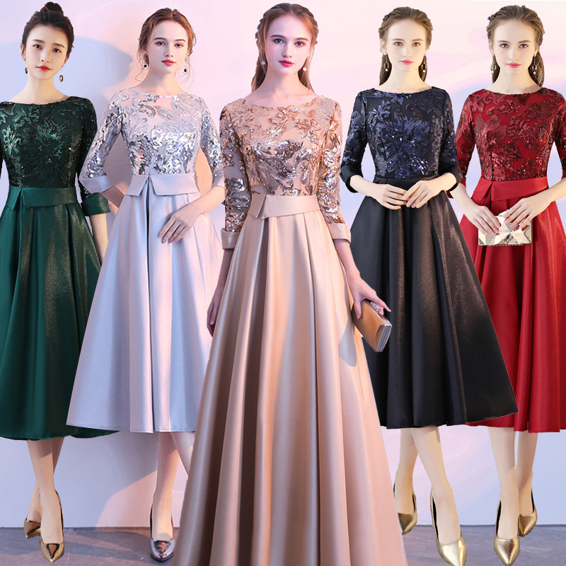 Evening Dress A-line Long Sleeves Scoop Floor-length Sequin Dress with Sashes Satin Dress Party Gown