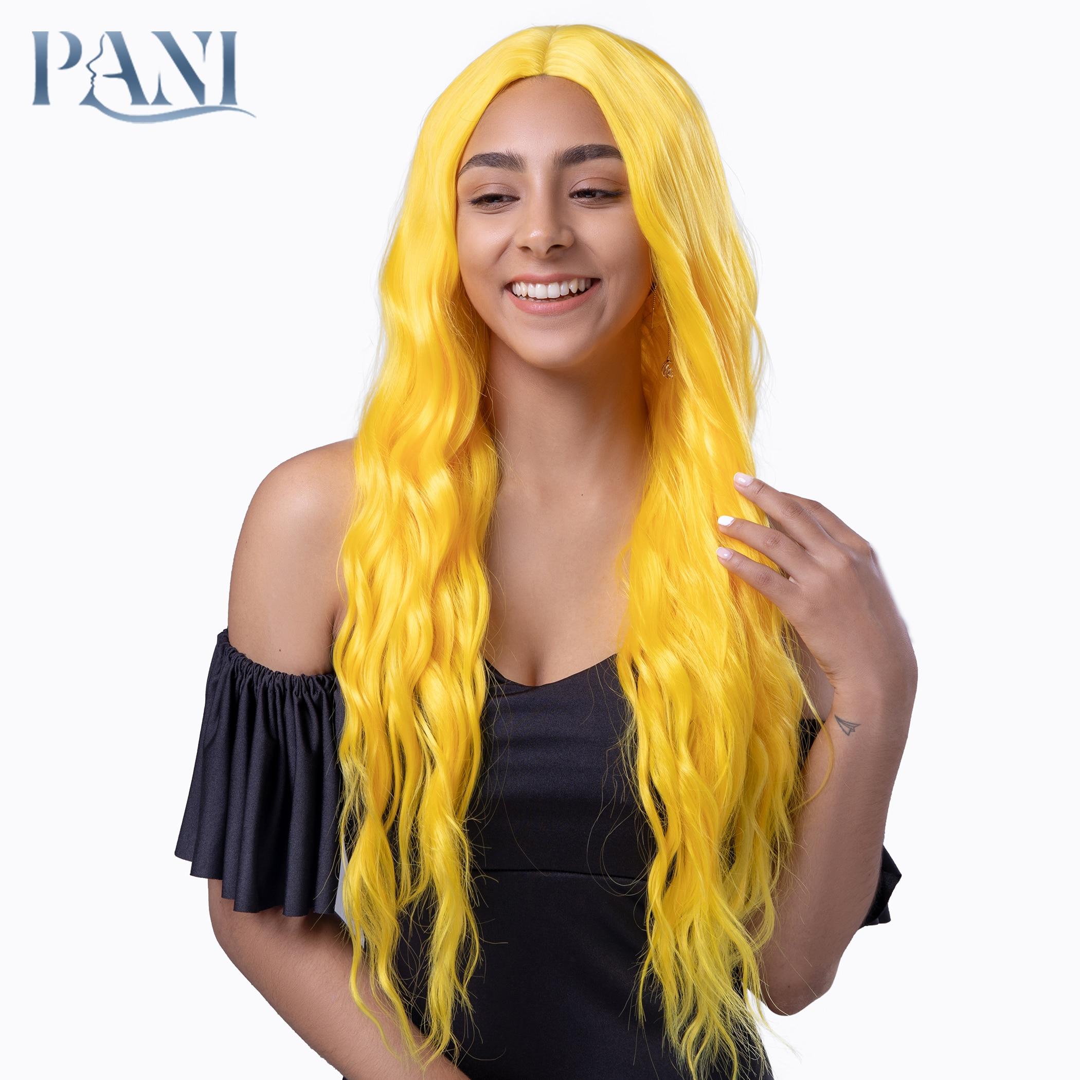 PANI kadın uzun fantezi sarı su dalgalı peruk sentetik peruk kadınlar için altın peruk yapay saç Lolita peruk Cosplay anime