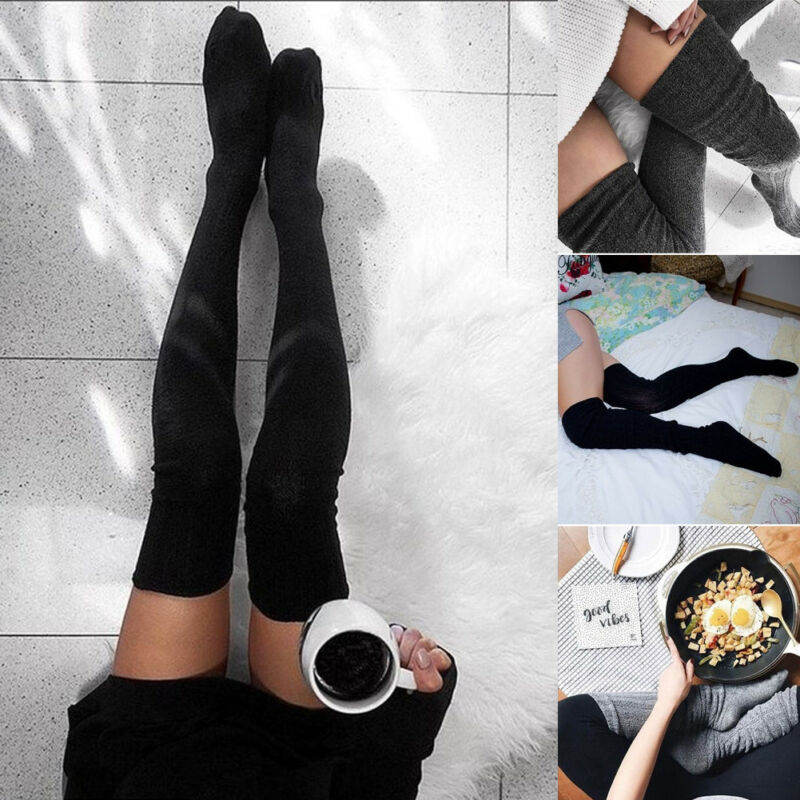 Women Lady Wool Warm Knit Stocking Over Knee Thigh High Stockings Socks Pantyhose Tights Black Gray