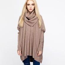 Свободный Трикотажный свитер с высоким воротником осень/зима
