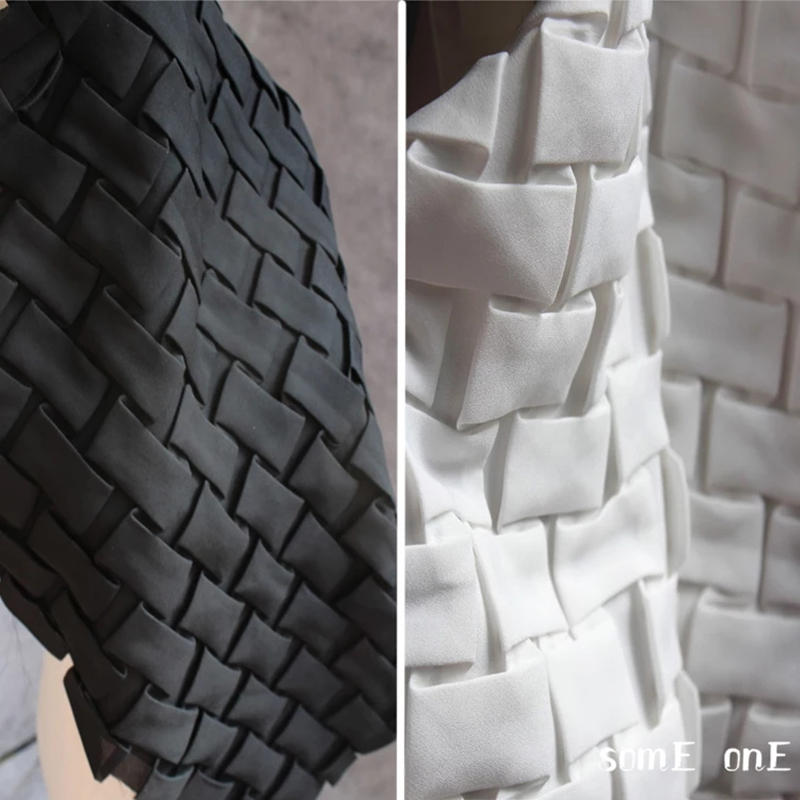 Pleated Chiffon Fabric Black White Rectangle Texture Folds DIY Patches Decor Shirt Skirt Dress Clothes Designer Fabric