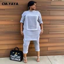 CM.YAYA-Conjunto de ropa deportiva de retales para mujer, sudadera de cuello redondo y pantalones con agujeros, chándal de dos piezas, conjunto de Fitness