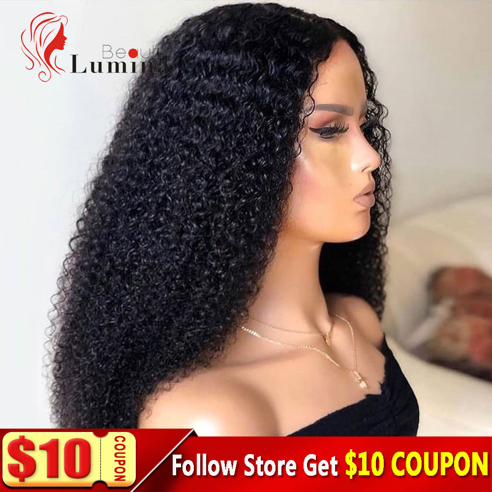 Kinky Curly Human Hair Wig 4x4 Lace Closure Wig Brazilian Curly Hair Wigs For Black Women Natural Hairline Curly Long Wig