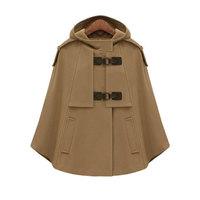 YONIS 2019 Autumn Winter Spring Capes Coat For Women Crossed Collar Cap Sleeves Loose Cloak Cardigan Femininas Female Jacket