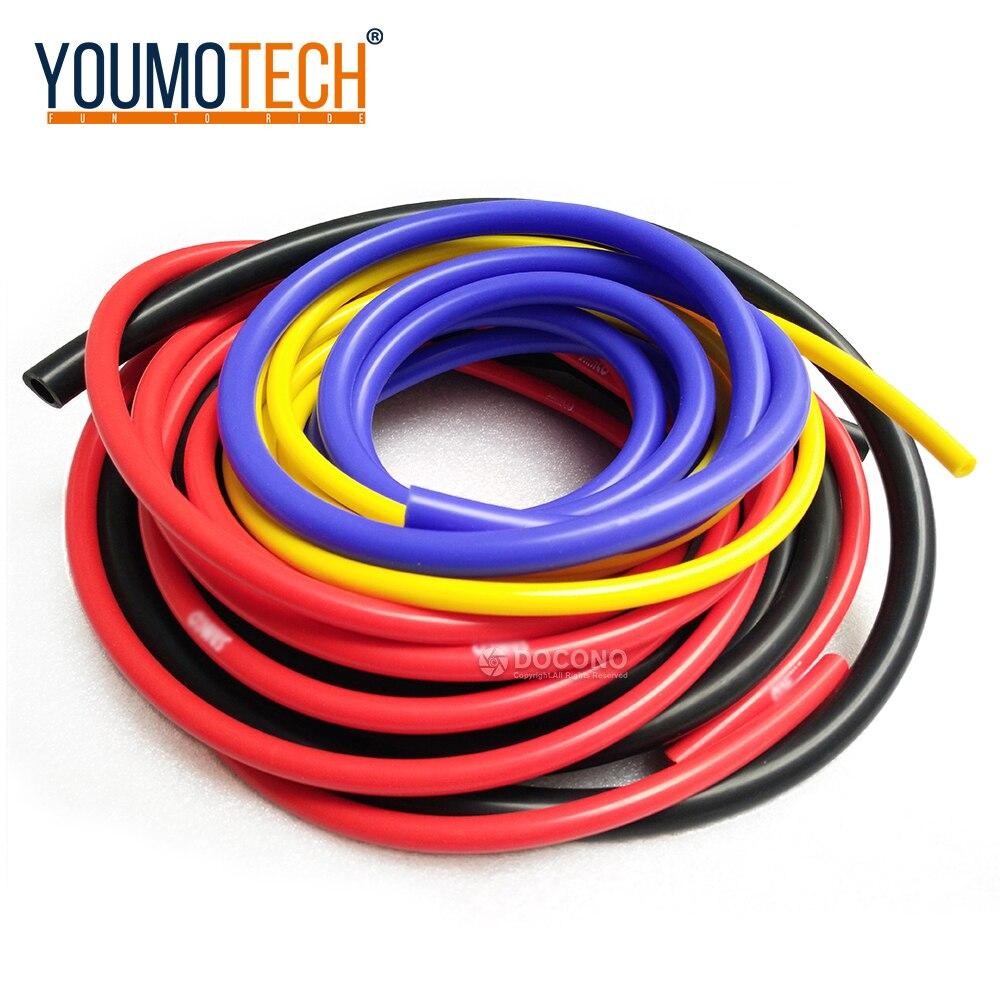 5M mavi siyah kırmızı sarı 3mm/4mm/6mm/8mm oto araba elektrik silikon hortum yarış hattı boru boru araba-styling