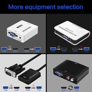 Image 2 - FSU taşınabilir tak ve çalıştır VGA HDMI çıkışı 1080P HD ses TV AV HDTV PC Video kablosu VGA2HDMI dönüştürücü adaptör