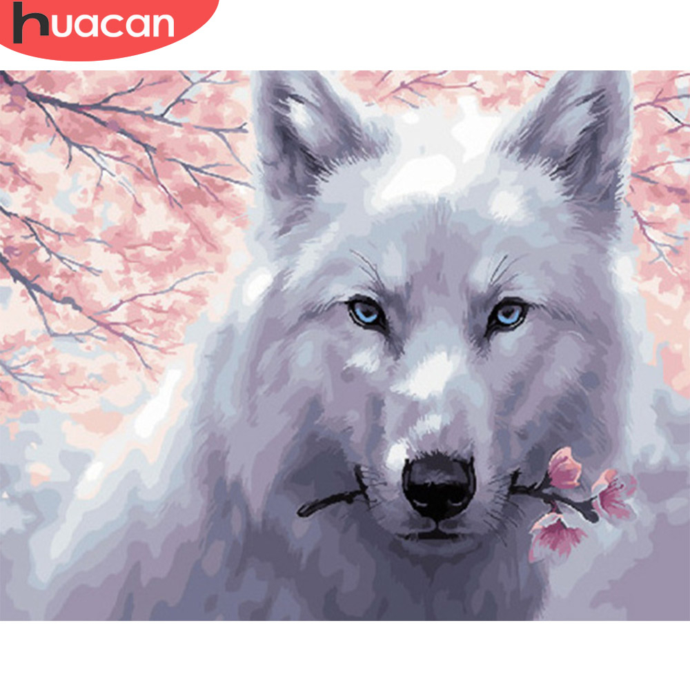 HUACAN Paint By Number Wolf Drawing On Canvas HandPainted Painting Art Gift DIY Coloring By Number Animal Kits Home Decor