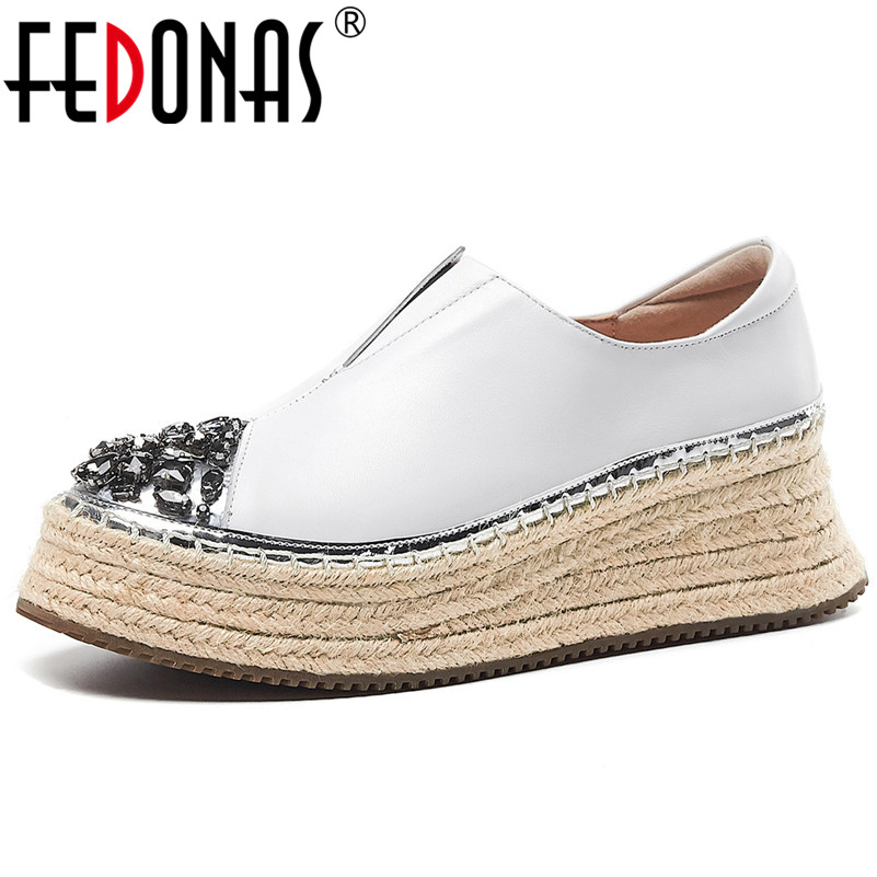 FEDONAS Spring Quality Genuine Leather Platform Women Flats Slip On Sports Casual Shoes Woman Blingbling Crystal Women Sneakers