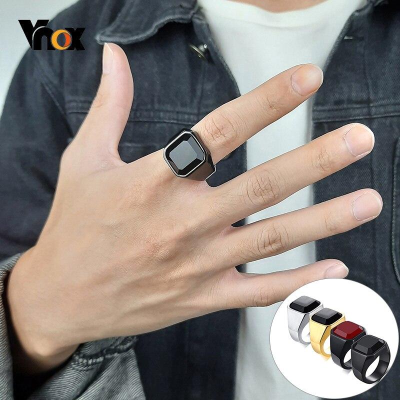Vnox Fashion Men's Square Black Carnelian Semi-Precious Stone Signet Rings in Black Gold Color Stainless Steel Male Jewelry