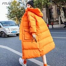 جديد موضة شتاء 2020 من FTLZZ معطف حريمي فضفاض وطويل مزود بغطاء للرأس جاكيت مبطن ريش أبيض سميك دافئ معطف حريمي للخروج