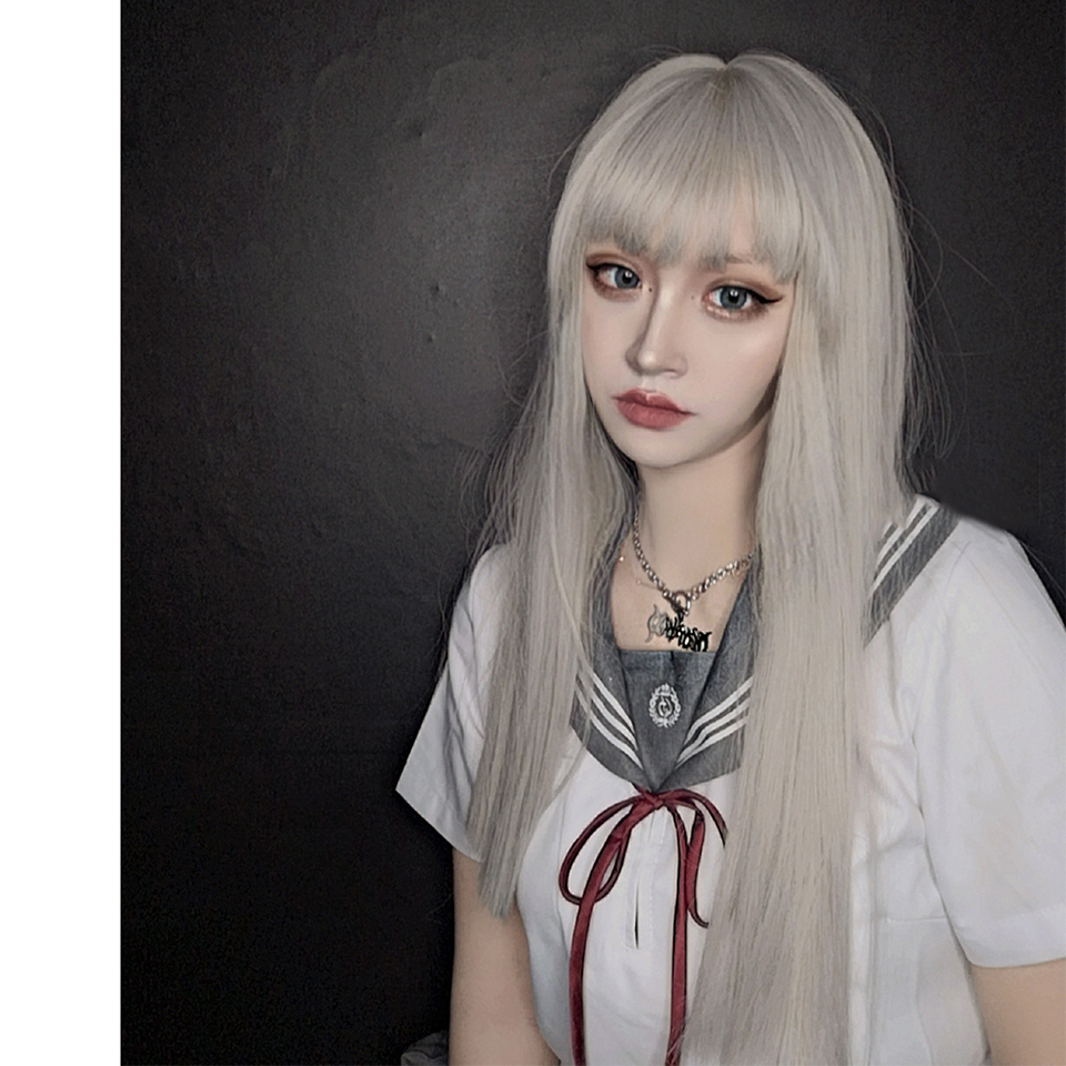 Lolita Cosplay Daily Air Bangs Light Grey Universal Long Straight Fiber Heat Resistant Synthetic Wig Sweet And Cute