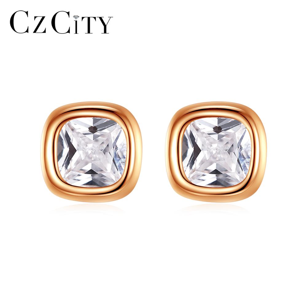 CZCITY Simple Classic Design 925 Silver Small Square Stud Earrings Women & Men Tiny CZ Minimalist  Jewelry Gift Bijoux SE0478