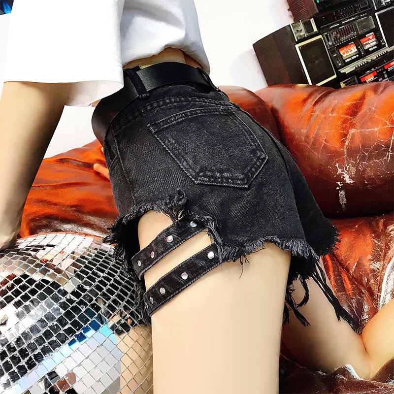 2020 Ripped Holes Jeans Shorts Street Wear High Waisted Fringe Denim Hot Shorts Summer Sexy Shorts femme plus size 5XL KZ248
