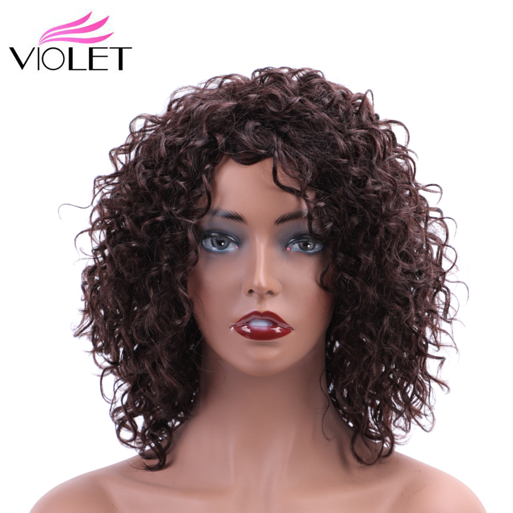 VIOLET Brazilian Brown Deep Wave Wig Medium Ratio 10 Inch Non-Remy Short Human Wigs For Black Women 100% Human Hair Wig #1B#2