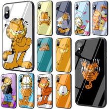 EWAU cute cartoon garfield Tempered Glass phone case for