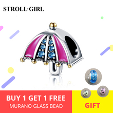 2019 New arrival Real 925 Sterling Silver pink Rainbow Umbrella with CZ Beads Charms Fit  Bracelets for Women DIY jewelry