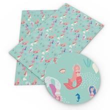 Sheet Fabric for Bows In-Crafts Kunstleer DIY Handmade-Materials 1yc7831 Fish-Printed