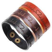 Punk Design Heart Imprint Leather Bracelet Men Wide Wrap Wristband Vintage Adjustable Bracelts&Bangles Jewelry Male vintage multilayered faux leather heart bracelet for men