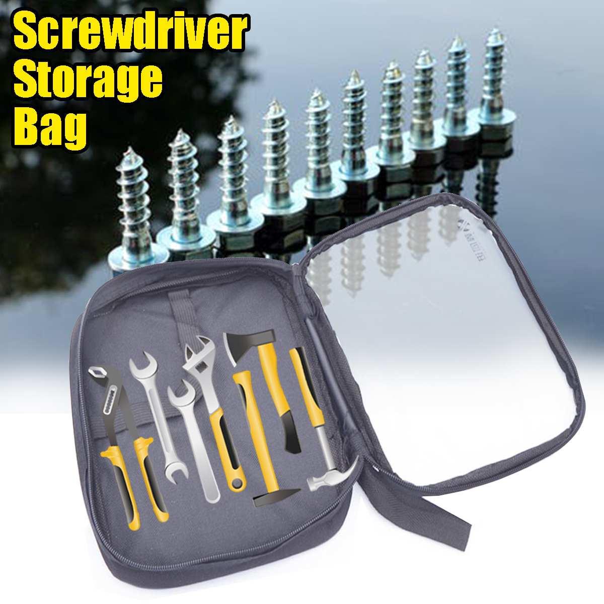 Portable Tool Bag Screwdriver Nuts Drill Pouch Organize Canvas Zipper Storage Bag Small Parts Hand Tool Repair Tools Bag