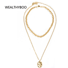 New Hip Hop double layers Hammer pendant necklace Stainless Steel Metal Thick Chain Collar Necklace For Women Party Jewelry