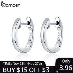 [Coupon $15 OFF $3] bamoer Genuine Sterling Silver 925 Hoop Earrings for Women 2 Color Tiny Ear Hoops Rose Gold Color SCE808