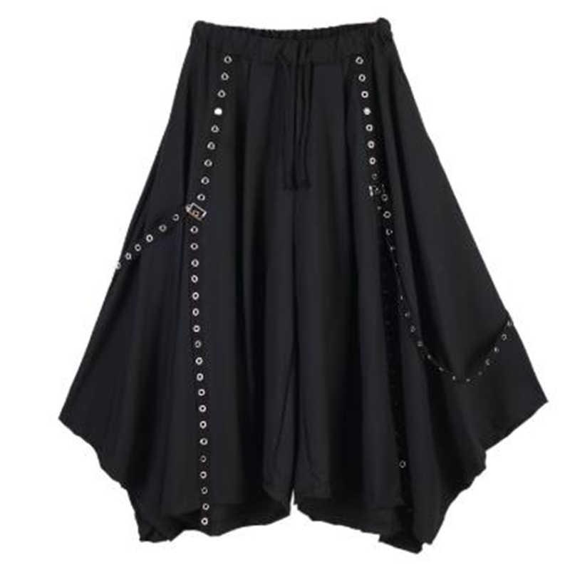 Erkekler şerit koyu siyah geniş bacak pantolon erkek kadın japonya Punk gotik Harem pantolon Kimono etek pantolon