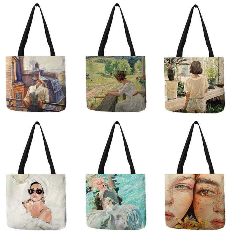 Pop Art Women's Bags Modern Lady Oil Painting Printed Women's Shoulder Bag Shopper Shopping Totes B13076